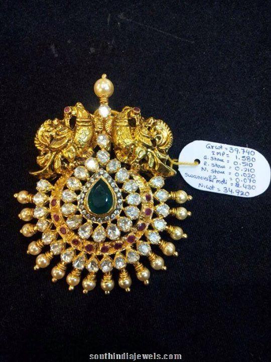 Gold Pendant, Peacock Pendant, Polki Pendant