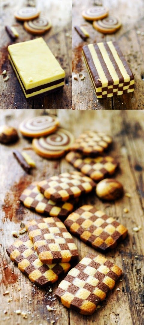 Chocolate and vanilla checkerboard cookies - Recipe in English...