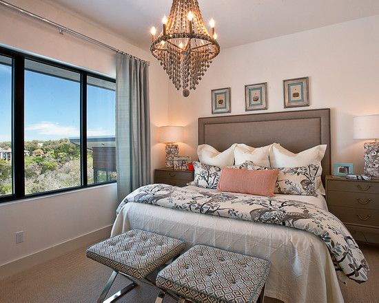 Home Designs, Picturesque Gold Brassy Chandelier And Tufted Upholstered Chairs Also White Drum Lamp Shade On Wooden Drawer For Small Contemporary Bedroom Design: Gorgeous Small Bedroom Organization To Get Comely Interior Design