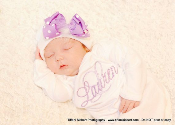 34 best triplet clothes images on pinterest triplets twins and personalized monogrammed lavender baby girl homecoming layette gown with infant hat infant hat with lavender bow negle Gallery