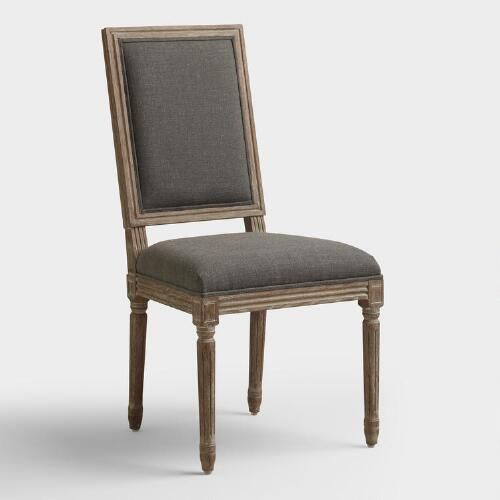 One of my favorite discoveries at WorldMarket.com: Charcoal Linen Paige Square Back Dining Chairs Set of 2