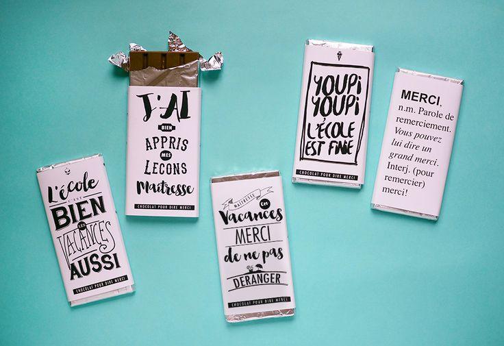 Idée cadeau pour la maîtresse : printables tablettes de chocolat