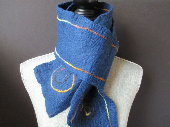 Artistic blue scarves felted blue Merino scarf long double