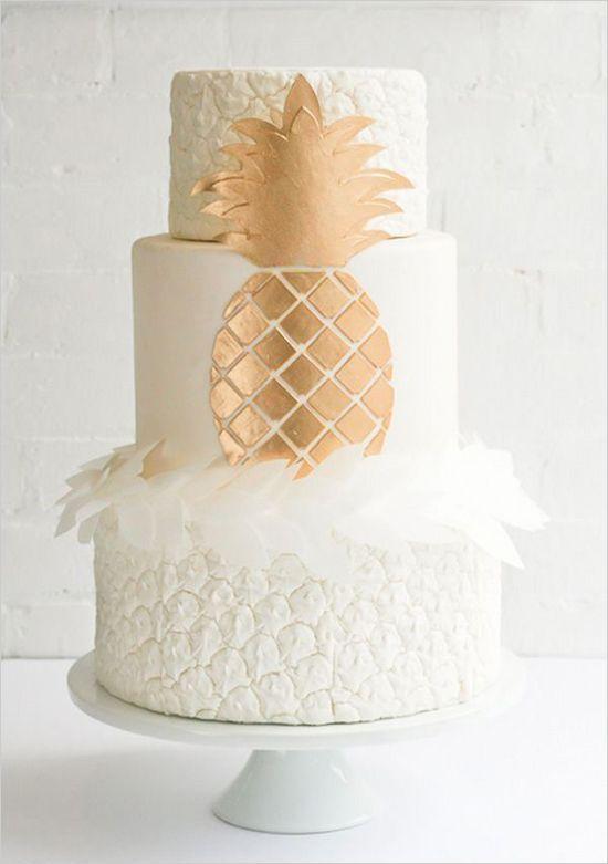 Ananas theme mariage - deco gateau - blanc et doré