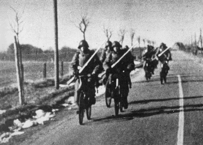 Danish soldiers on bicycles, April 9, 1940