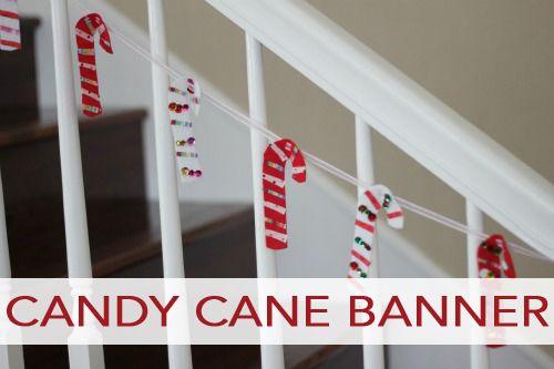 Fabric Scrap Candy Cane Banner