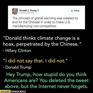 The best jokes, tweets and memes reacting to the first presidential debate between Donald Trump and Hillary Clinton.: Trump and Climate Change
