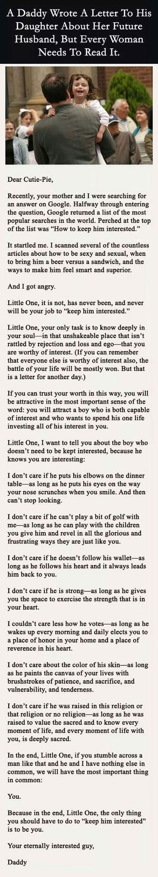 A letter from a father to his daughter.