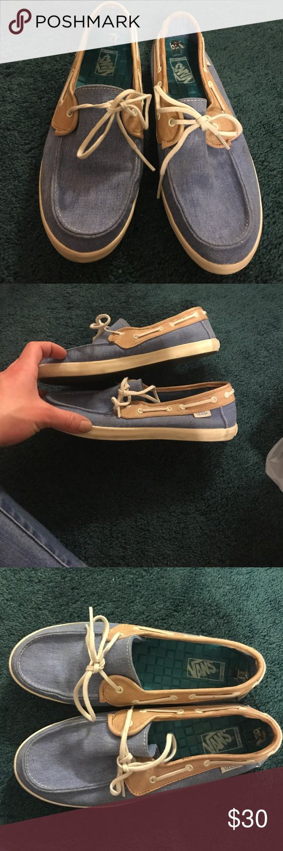 Vans boat shoes Worn once great condition no box light blue and tan Vans Shoes Flats & Loafers