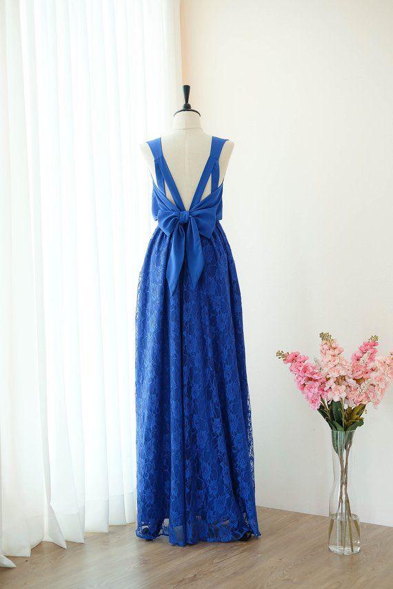 3743510e71 Royal blue dress Indigo Long Bridesmaid dress Lace Wedding Dress ...