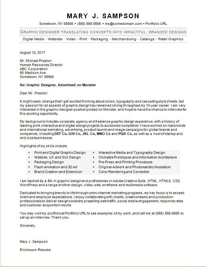 Graphic designer cover letter polished and professional