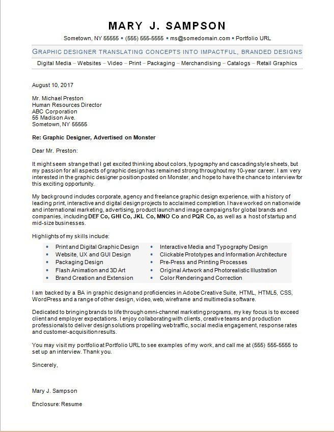 Graphic Designer Cover Letter Job Cover Letter Cover Letter