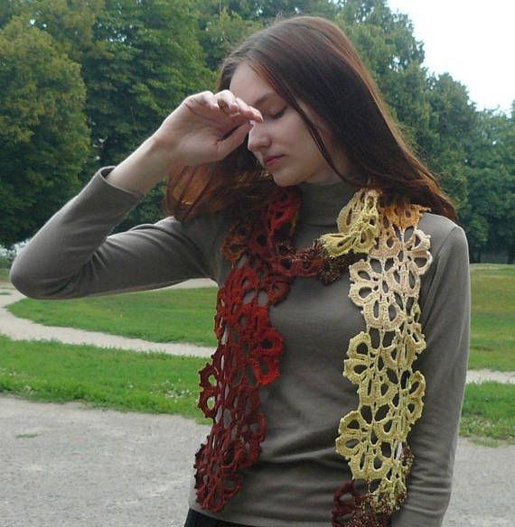 Crochet scarf knitted wrap Fashion Lace Women Colorful
