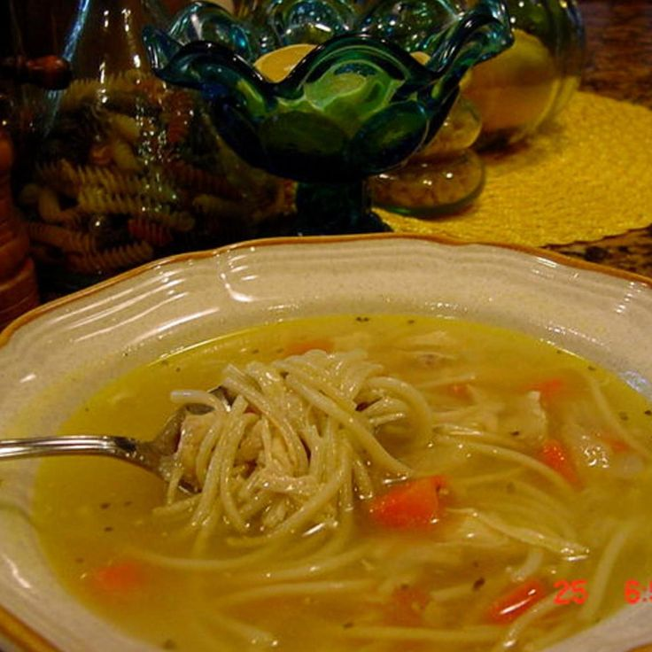 This is about as close as I can get to the Campbell's canned version.  We think it tastes better, and is a hearty soup.  This soup can be made in a few minutes if you have cooked your chicken or turkey in broth the day before.  This recipe can also be made with chopped turkey. Enjoy!   Photo is my own and so is this humble recipe.