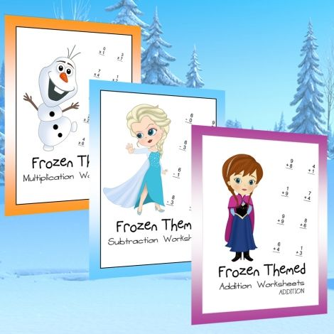 Frozen themed arithmetic bundle kids math worksheets and printables