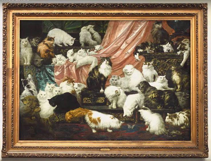 """Известная картина """"Любовники моей жены"""" австро-американского художника Карла Калера продана на аукционе Sotheby's за $826 тыс. Среди знатоков искусства эту работу неофициально называют """"величайшей в мире картиной с кошками"""". На полотне запечатлены 42 из 350 кошек, принадлежавших некой миссис Кейт Джонсон  http://tass.ru/kultura/2408536 Фото: © SothebysTV / Youtube.com"""