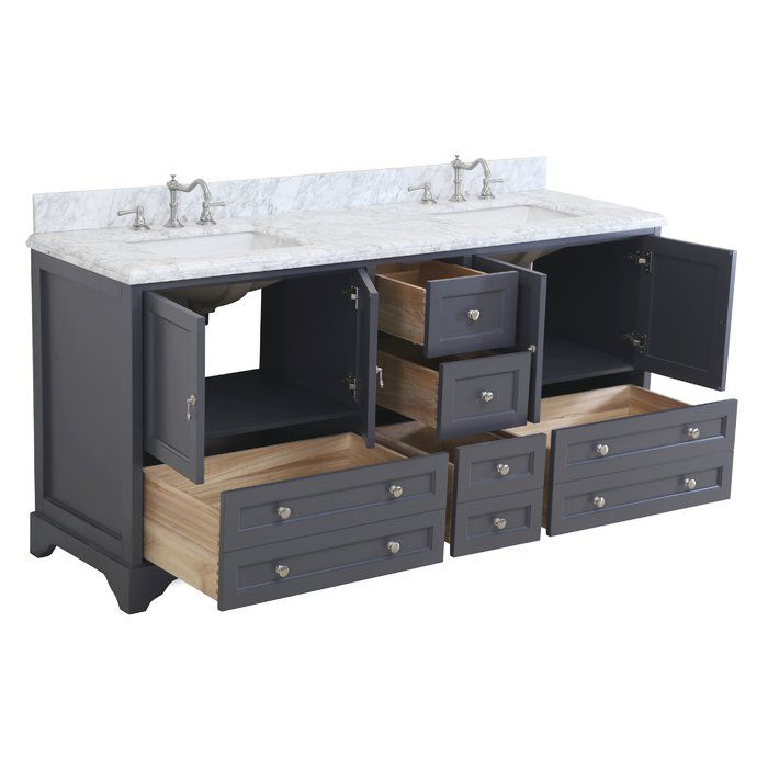 """The Madison 72"""" Double Bathroom Vanity Set by Kitchen Bath Collection brings breathtaking form with everyday function to any bathroom! This set includes a high-end furniture-grade cabinet with solid wood, dove-tailed drawers, soft-close function on the doors and drawers, authentic carrara marble counter top imported from Italy and under mount ceramic sink. Order now and we will include the pictured three-hole faucet and a matching backslash as a free gift! All vanities come fully assemb..."""