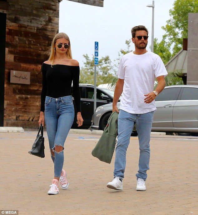 Dressed down lunch: Scott Disick was spotted leaving Japanese restaurant Nobu in Malibu, California, with British model Ella Ross