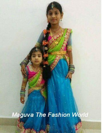 Cute Green and blue kids half saree http://www.maguvathefashionworld.com/2014/08/cute-green-and-blue-kids-half-saree.html#.U-kJxsddWY8