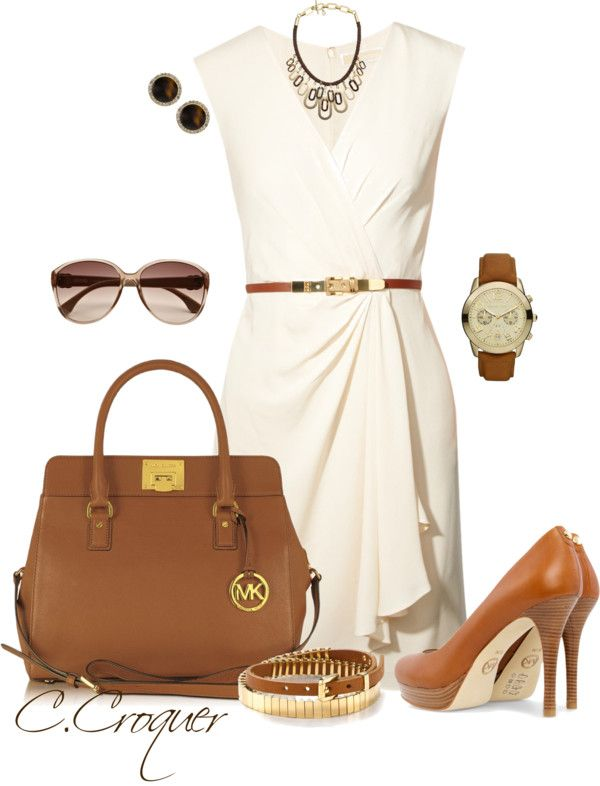 Head to Toe Michael Kors... cream dresswith belt accessories watch and sunglasses handbag and pumps copper brown  by ccroquer on Polyvore #MK