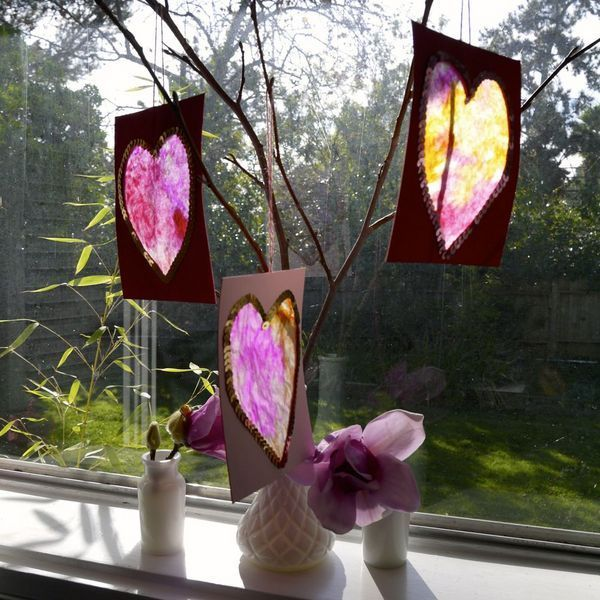 Heart Sun Catchers. An Easy Valentine's Crafts for Children