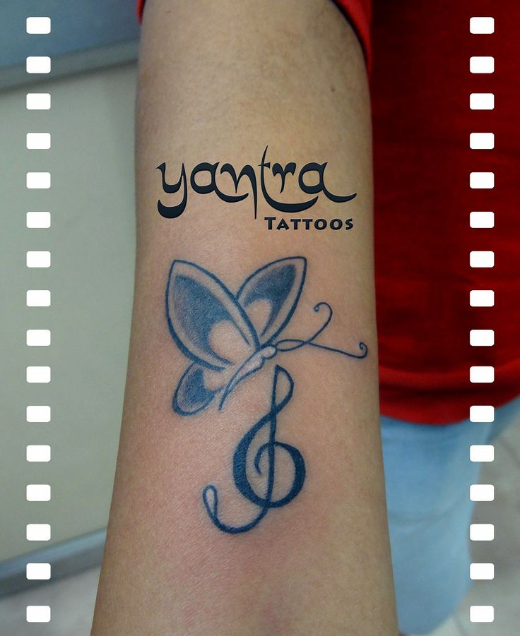 Butterfly with Music Symbol http://www.yantratattoos.com
