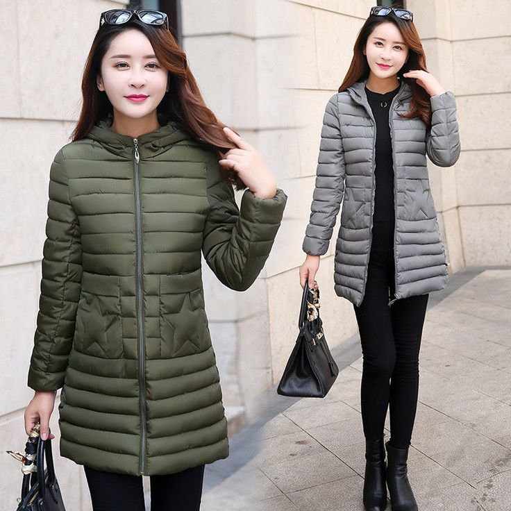 Fashion Winter Women Down Cotton Long Coat Hooded Down Jacket Ladies Parka