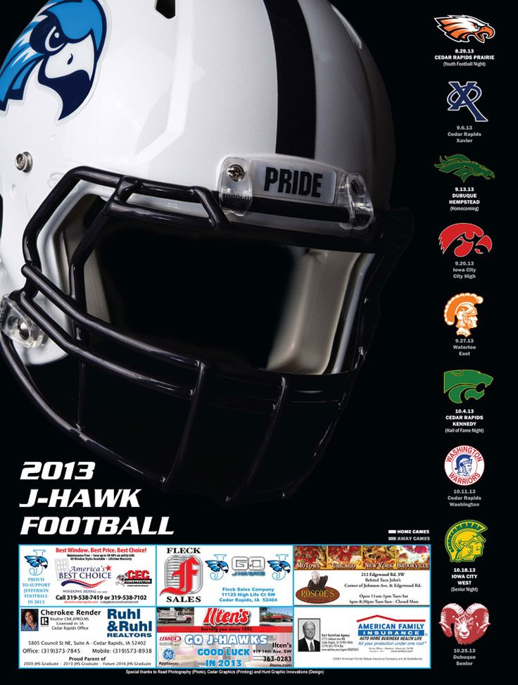 High School Football Schedule Poster