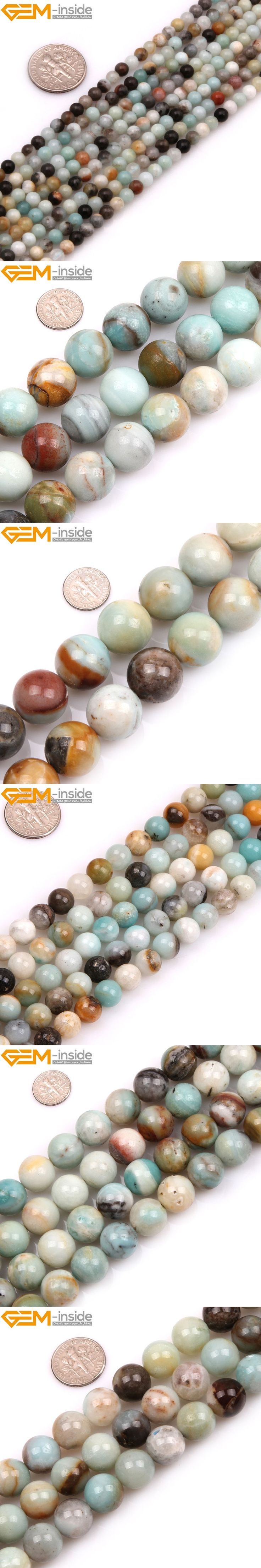 Natural Round Amazonite Stone Beads For Jewelry Making 4-20mm 15inches DIY Jewellery Necklace FreeShipping Wholesale Gem-inside