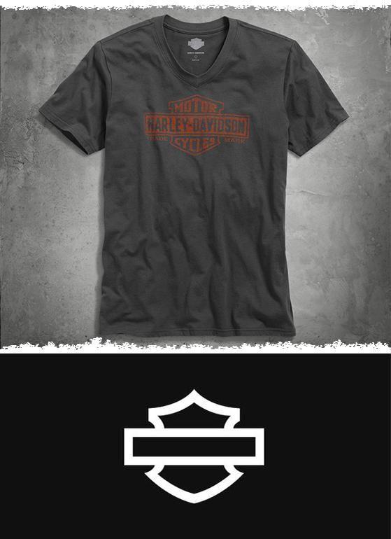 Timeless Bar & Shield logo. Easy-going V-neck. Lean, stylish fit. | Harley-Davidson Men's Trademark Logo V-Neck Tee