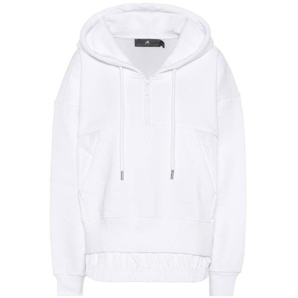 Adidas by Stella McCartney Cotton Sweatshirt (1 125 SEK) ❤ liked on Polyvore featuring tops, hoodies, sweatshirts, white, cotton sweatshirts, adidas, adidas top, white cotton sweatshirt and white cotton tops