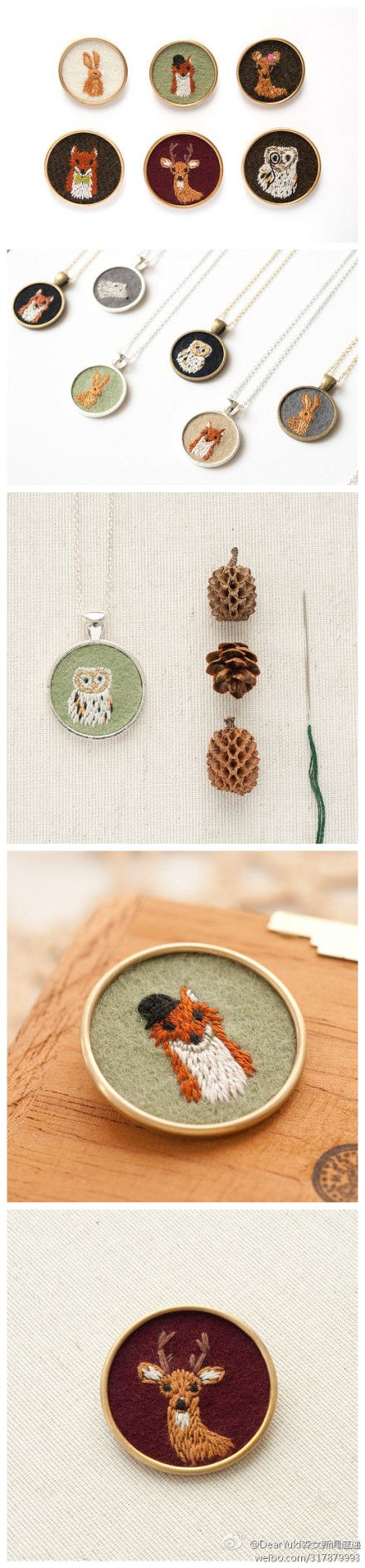 Animal Necklaces #embroidery #wow