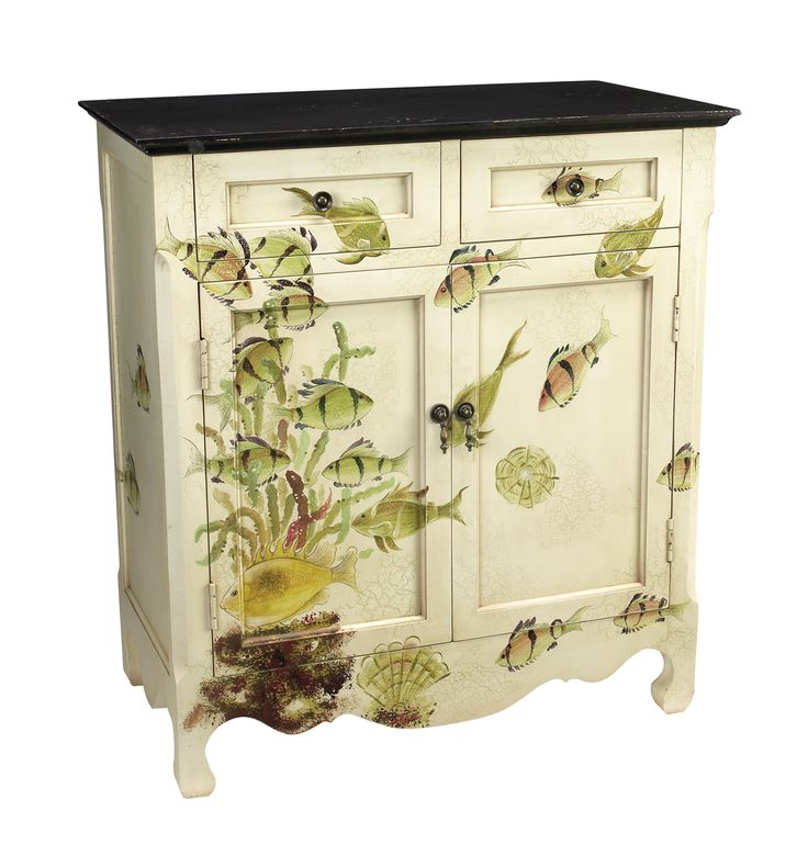 SHABBY NAUTICAL BEACH HOUSE COTTAGE CHIC Furniture Hall PAINTED FISH  CABINET New