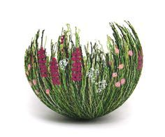 Decorative bowls are made entirely from thread, by Abbe Honeyman.