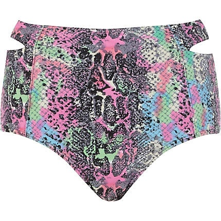 Purple python print cut out bikini bottoms £14.00
