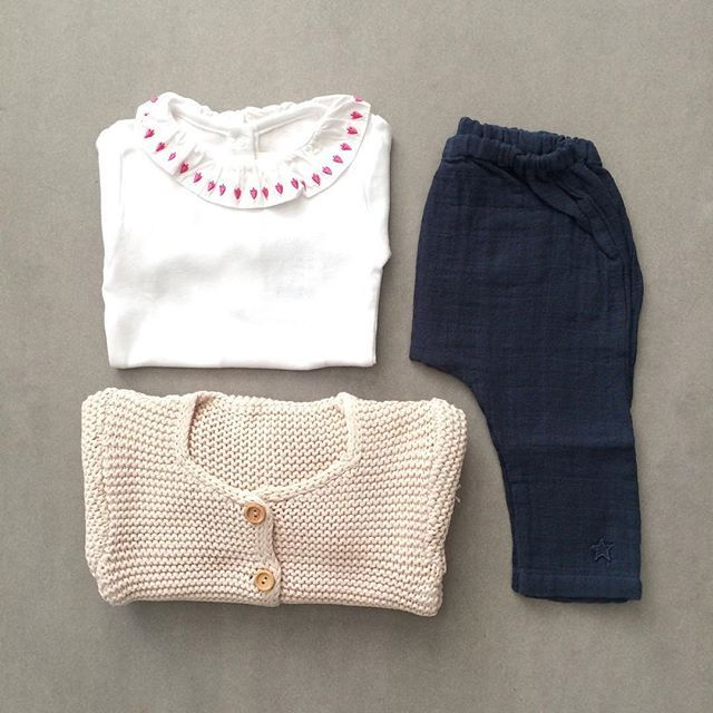 Outfit inspiration for the girls today.  Shop the look:  Roly Pony bodysuit Tocoto Vintage trousers  Poudre Organic cardigan