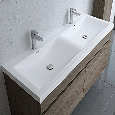 Meuble de salle de bains avec double lavabo ensemble de 2 - Meuble salle de bain 120 cm double vasque ...