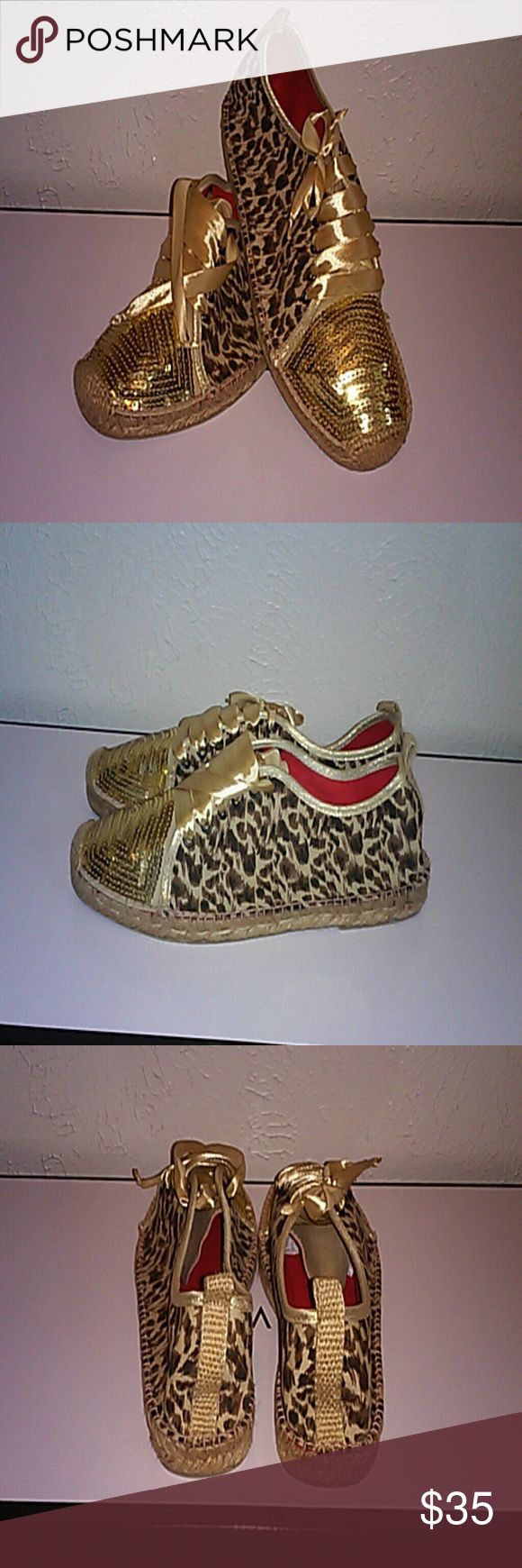 Hammocks animal print espadrille Ibiza animal print espadrille with gold sequin. Hammocks Shoes Espadrilles
