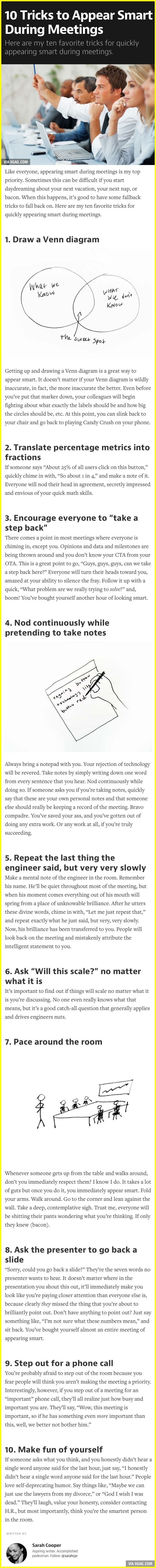 10 Tricks to Appear Smart During Meetings (this has to be the secret to IBM execs)