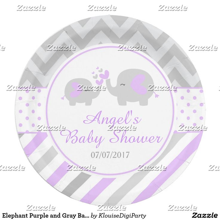 Elephant Purple and Gray Baby Shower Paper Plate