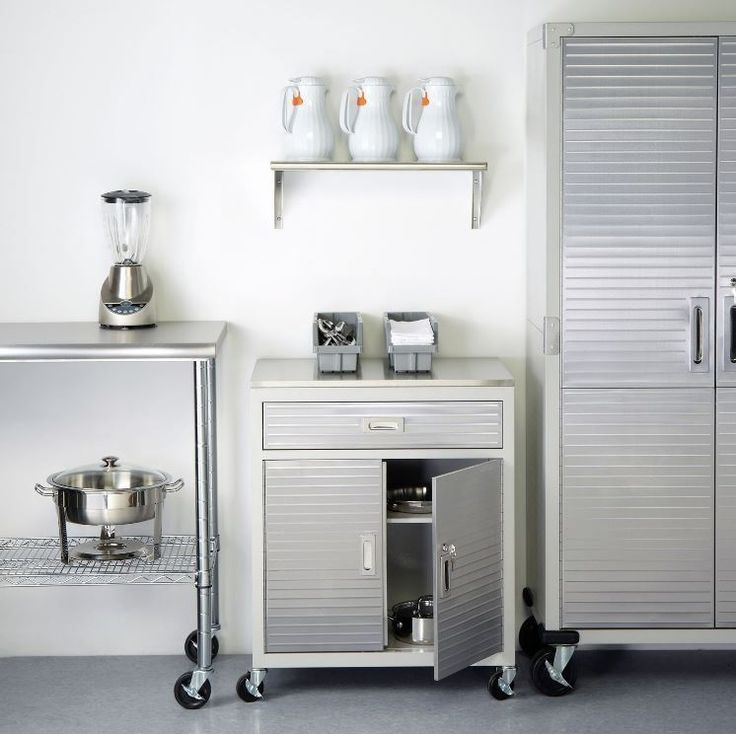 Kitchen Appliance Storage Cabinets With Drawers Garage Metal Stainless Steel Top #SevilleClassics