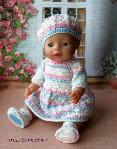 Вязанная одежда для куклы комплект для пупса Baby Born рост куклы 43 см Все комплекты связаны вручную из качественной детской / 600р