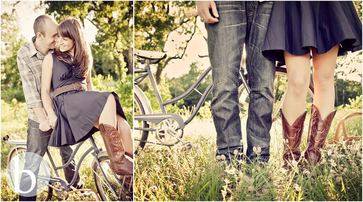 bicycle + cowboy boots engagement