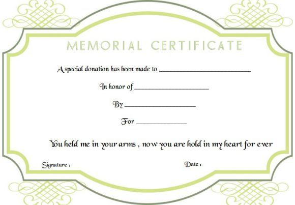 Memorial Donation Certificate Template Donation Certificate
