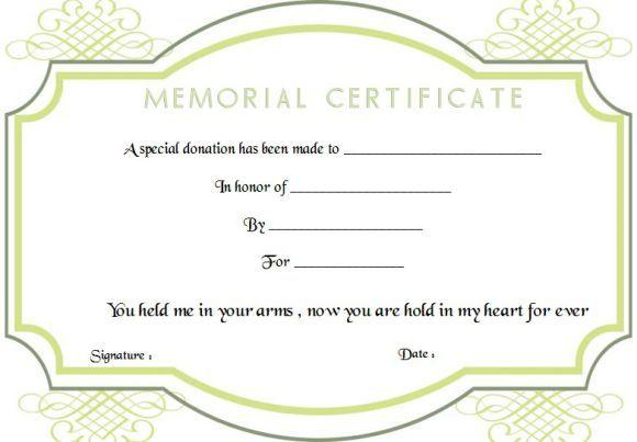 Memorial Donation Certificate Template Certificate