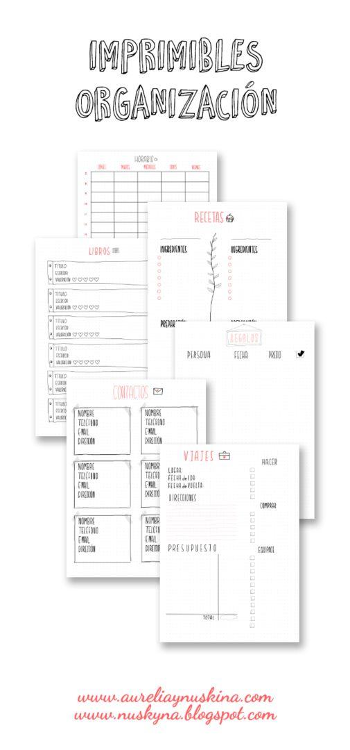 Imprimibles gratis organizacion
