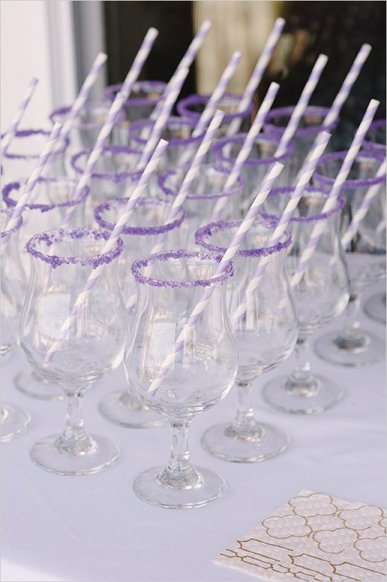 purple sugar rimmed glasses | drink ideas | bridal shower ideas | #weddingchicks