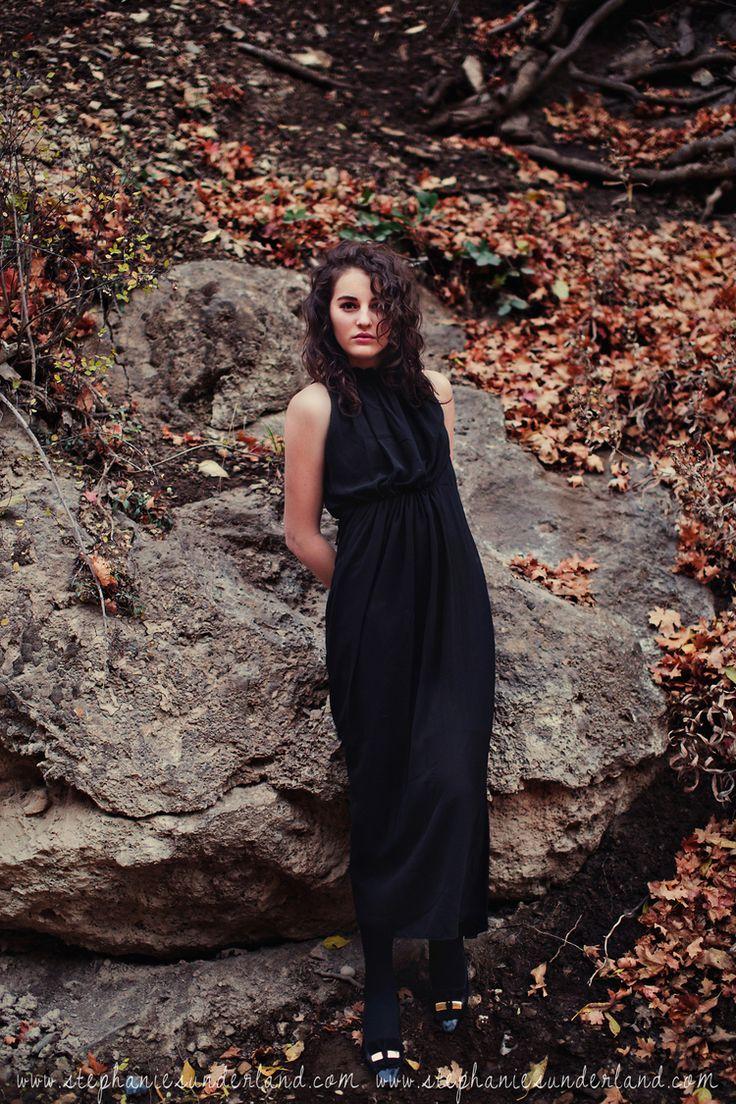 Fall photo shoot. Black maxi dress. Natural curly hair. Pretty makeup. Senior Photography in Utah. Stephanie Sunderland Photography.