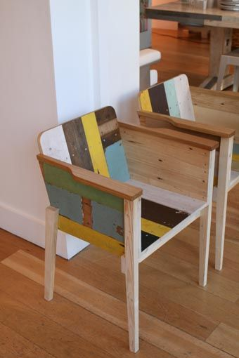 Bucket chair in Scrapwood by Piet Hein Eek.