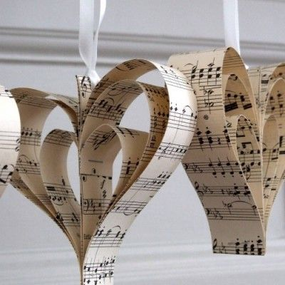 Handmade Vintage Music Heart Decoration - http://www.toptableplanner.com/blog/a-wedding-table-plan-that-is-music-to-your-ears